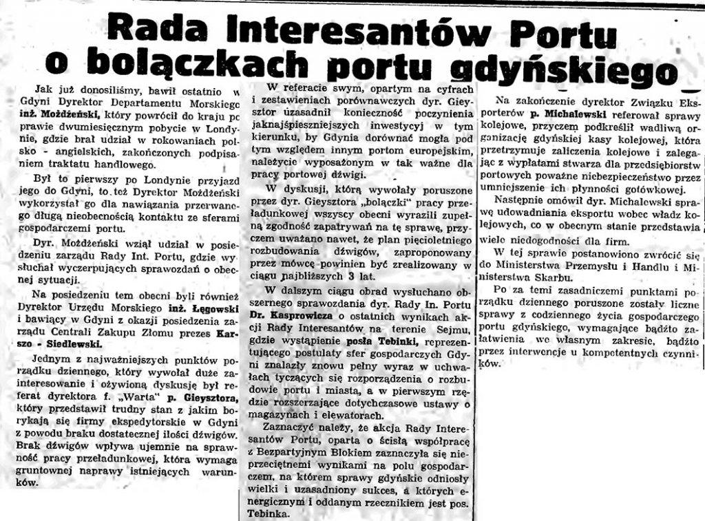 Rada Interesantów Portu o bolączkach portu gdyńskiego