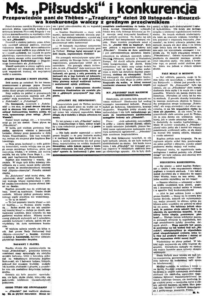 """Ms. """"Piłsudski"""" i konkurencja. Przepowiednie pani de Thebes - """"Tragiczny"""" dzień 20 listopada - Nieuczciwa konkurencja walczy z groźnym przeciwnikiem"""