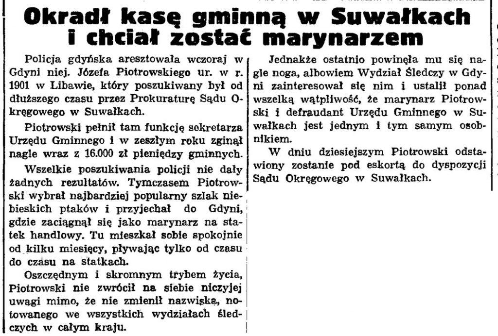 Okradł  kasę gminną w Suwałkach i chciał zostać marynarzem