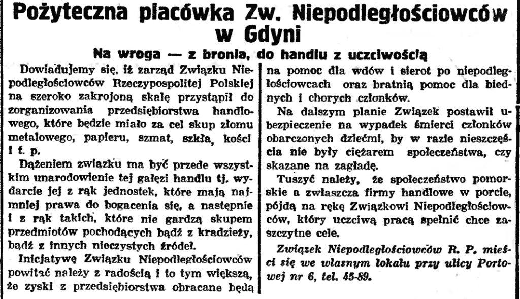 Pożyteczna placówka Zw. Niepodległościowcow w Gdyni