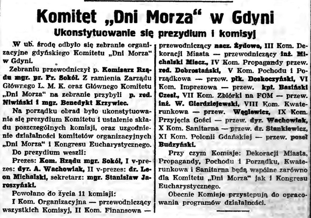 """Komitet """"Dni Morza"""" w Gdyni"""