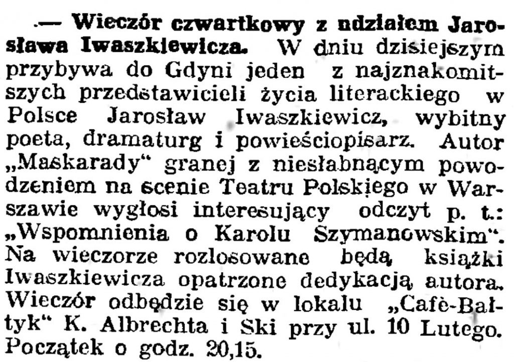 Wieczór czwartkowy z udziałem Jarosława Iwaszkiewicza
