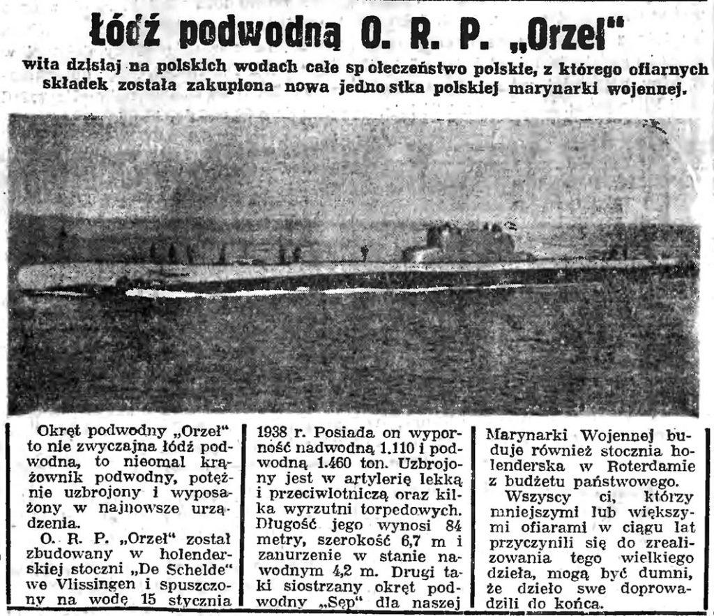 """Łódź podwodna O. R. P. """"Orzeł"""""""