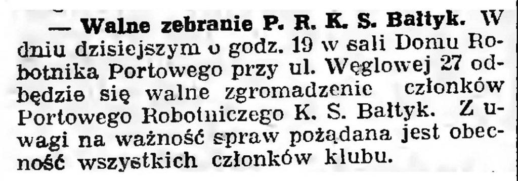 Walne zebranie P. R. K. S. Bałtyk