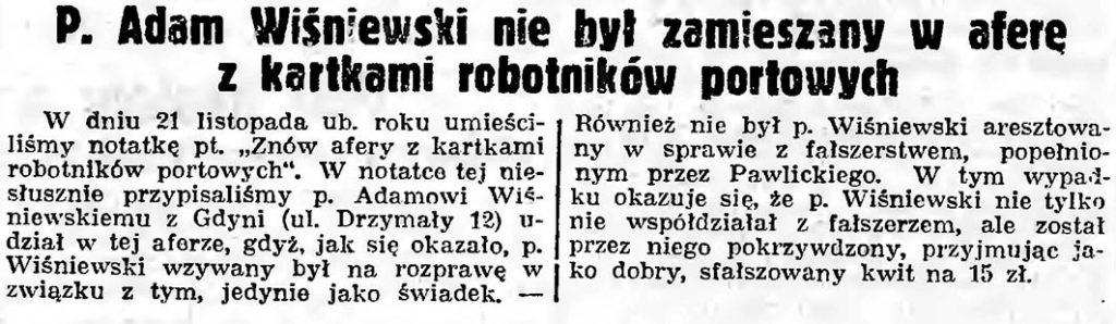 P. Ada Wiśniewski nei był zamieszany w aferę z kartkami robotnikó portowych