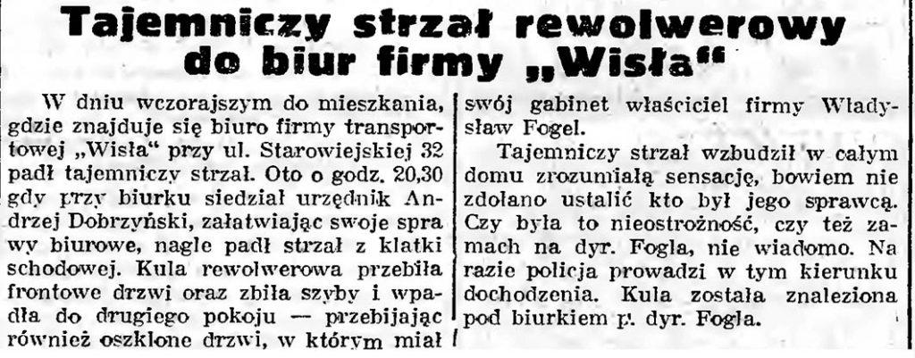 """Tajemniczy strzał rewolwerowy do biur firmy """"Wisła"""""""