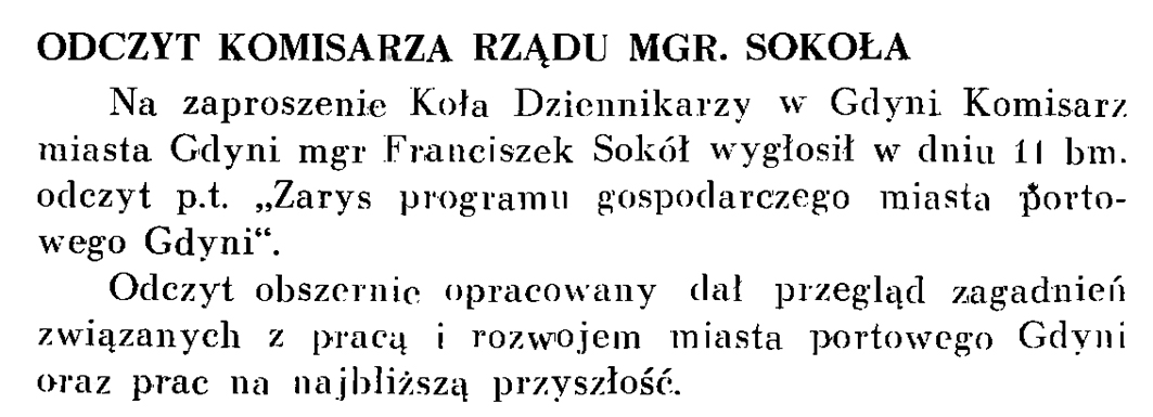 Odczyt Komisarza Rządu mgr. Sokoła