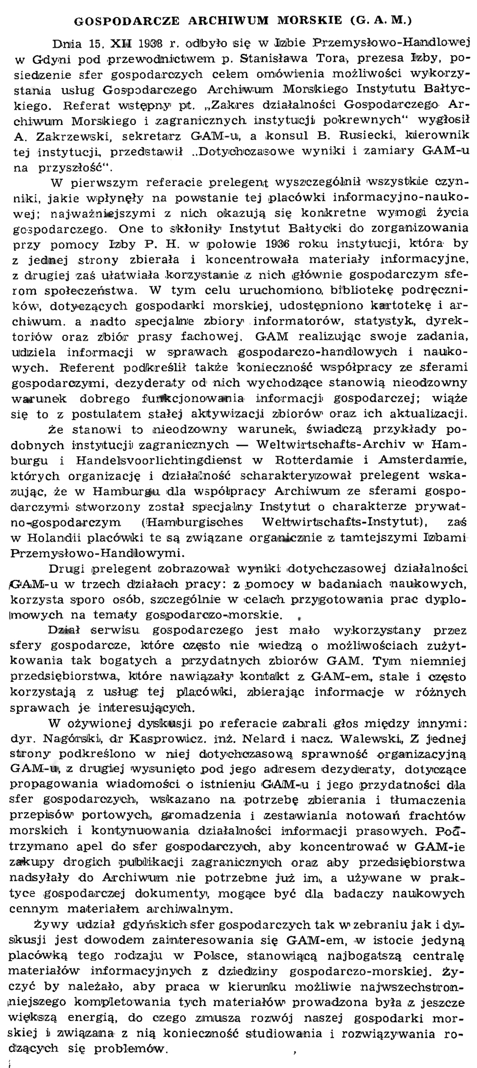 Gospodarcze Archiwum Morskie (G. A. M.)