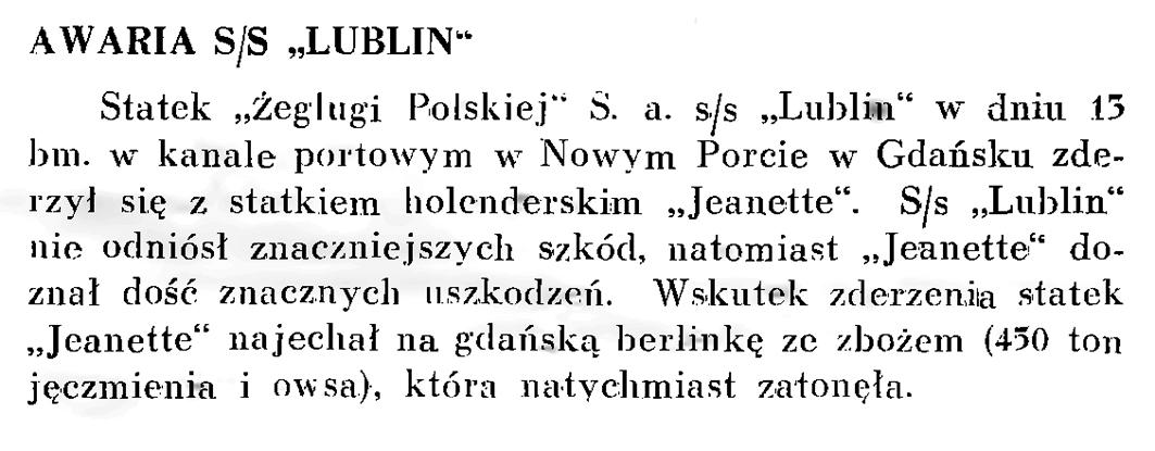 "Awaria s/s ""Lublin"""