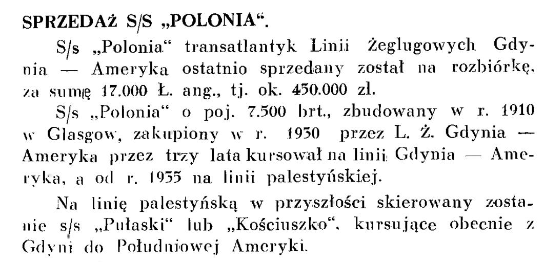 """Sprzedaż s/s """"Polonia"""""""