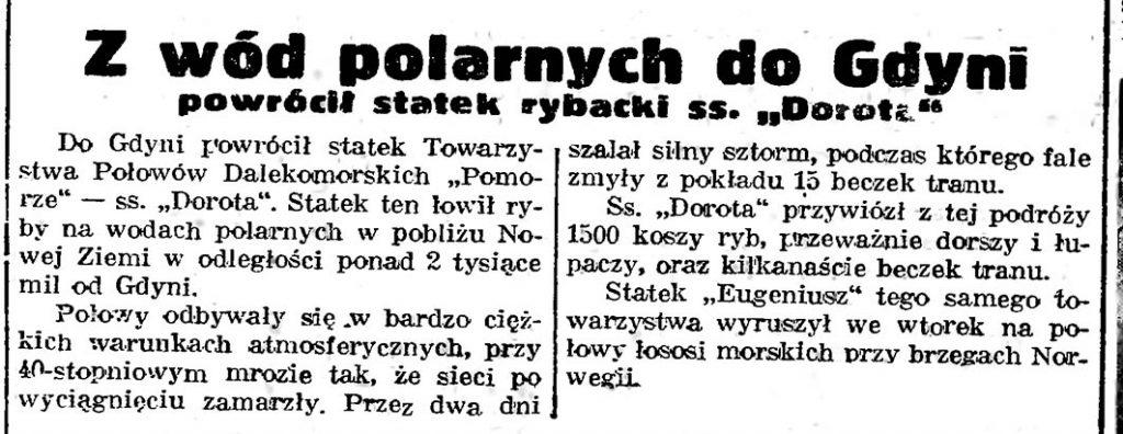 """Z wód polarnych do Gdyni powrócił statek rybacki ss. """"Dorota"""""""