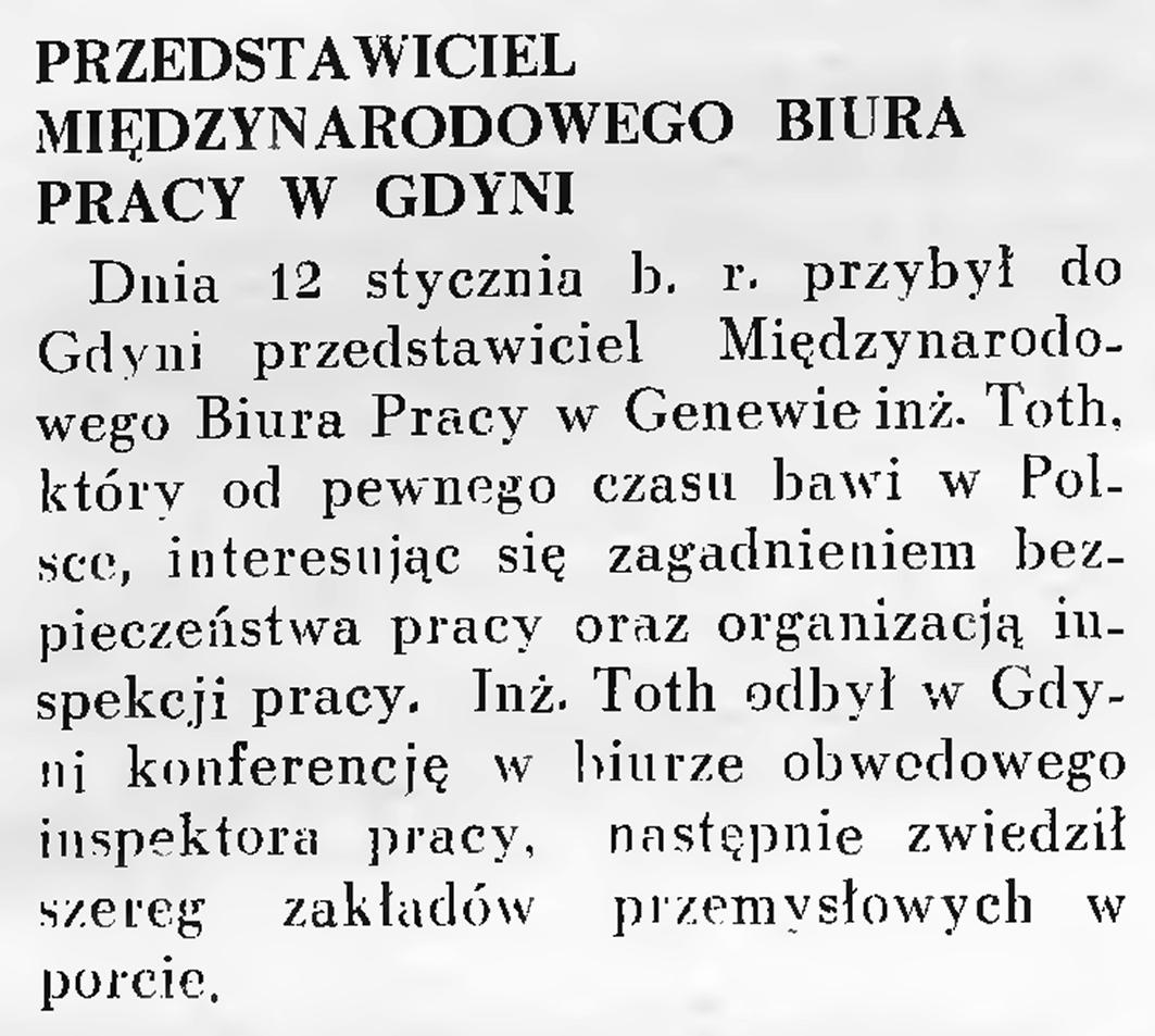 Przedstawiciel Międzynarodowego Biura Pracy w Gdyni