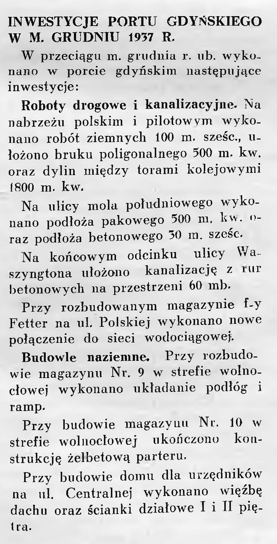 Inwestycje portu gdyńskiego w m. grudniu 1937 r.