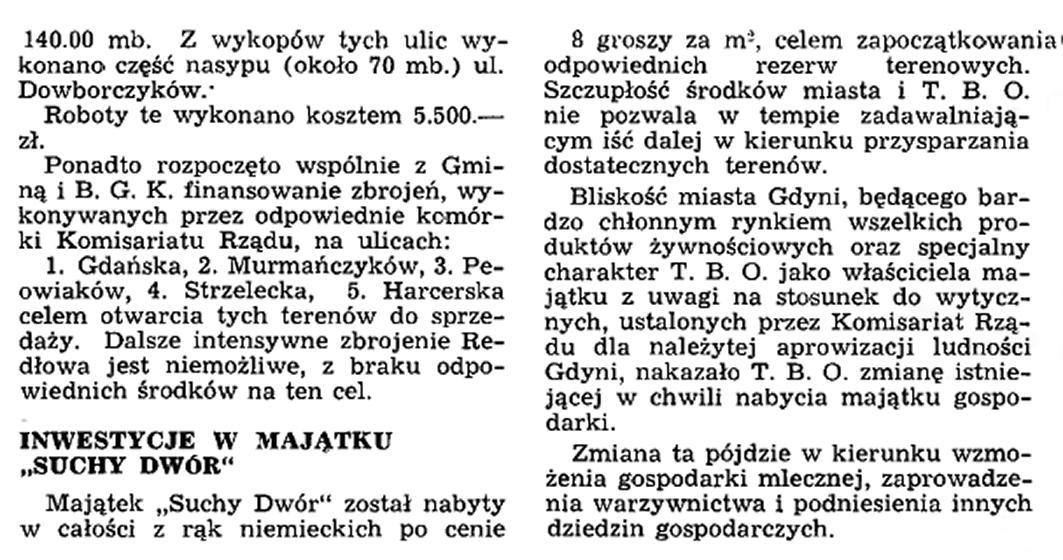 Inwestycje Tow. Budowy Osiedli (T. B. O.) w roku 1937