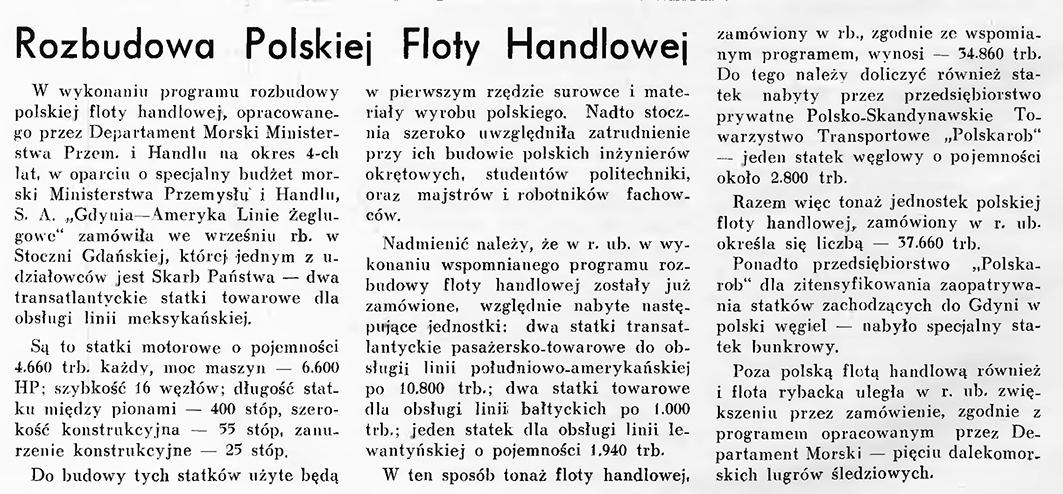 Rozbudowa polskiej floty handlowej