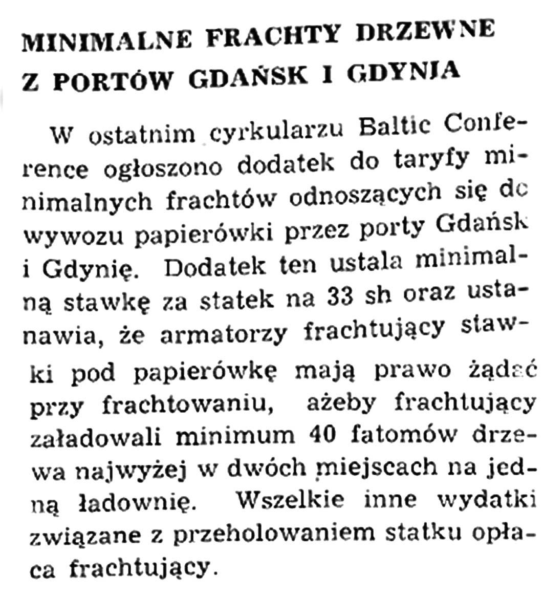 Minimalne frachty drzewne z portów Gdańsk i Gdynia