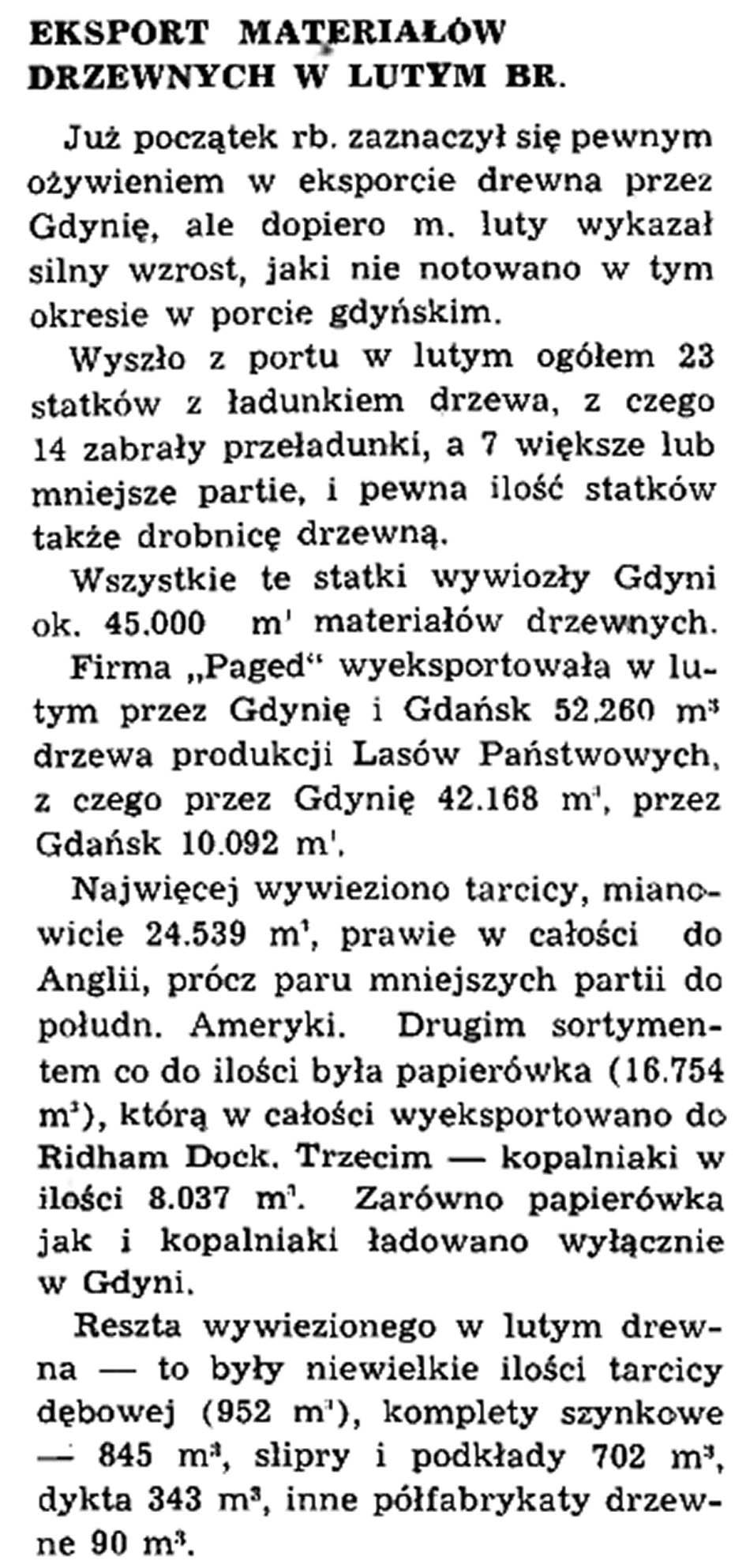 Eksport materiałów drzewnych w lutym br.