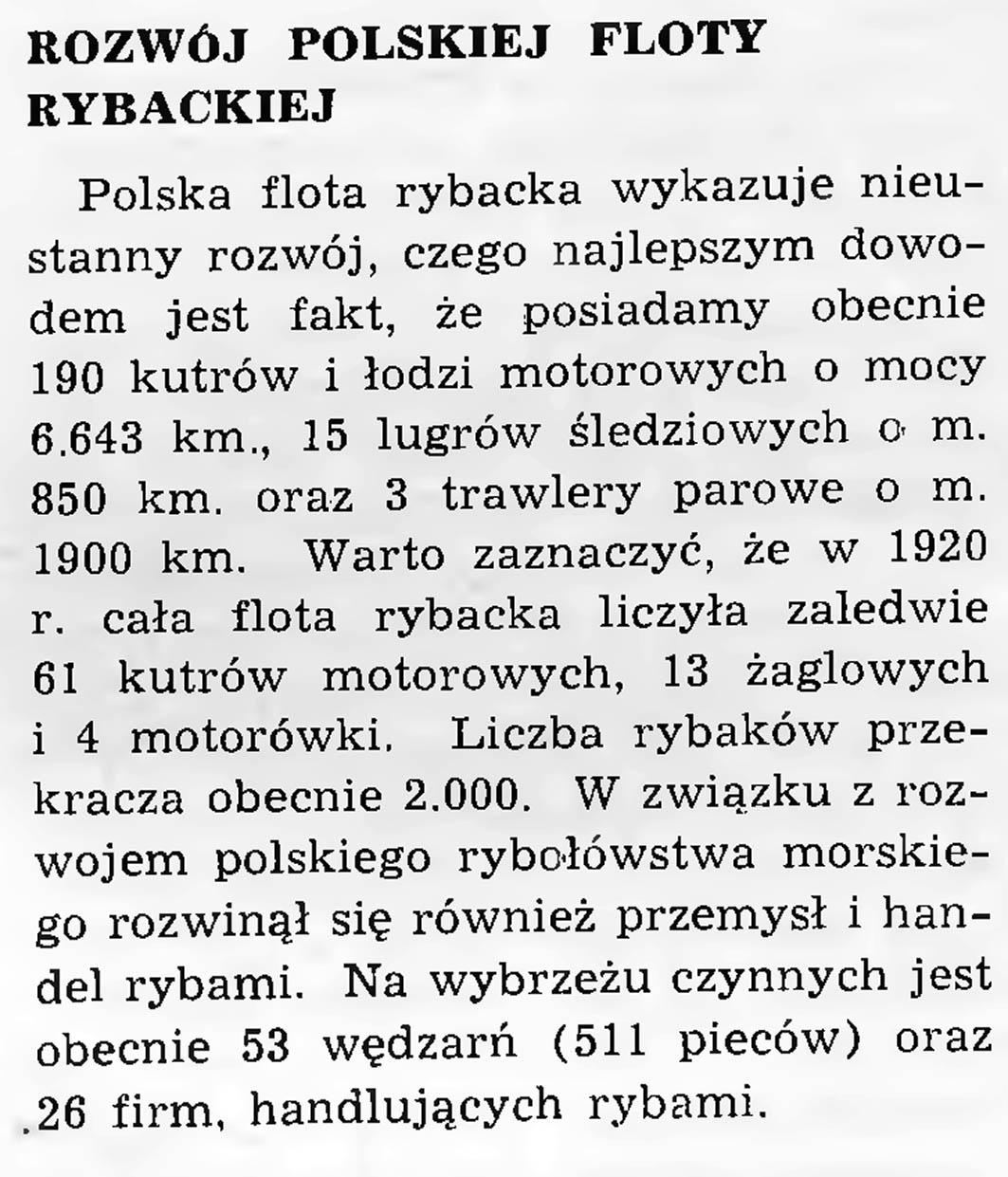 Rozwój polskiej floty rybackiej