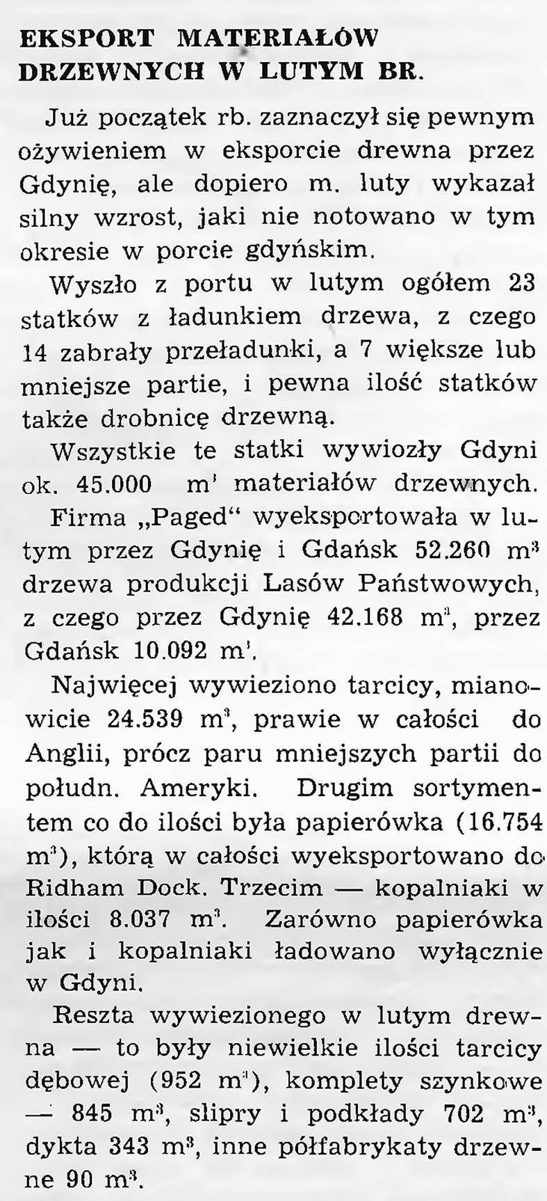 Eksport materiałów drzewnych  w lutym br. [1938]