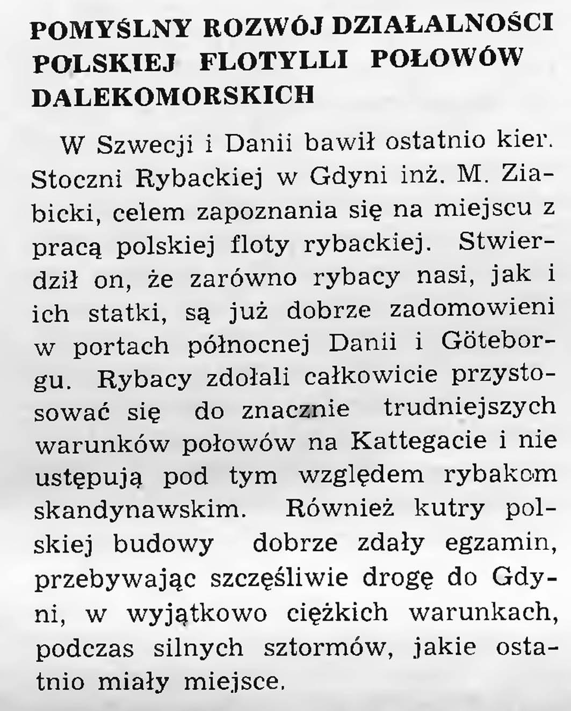 Pomyślny rozwój działalności polskiej flotylli połowów dalekomorskich