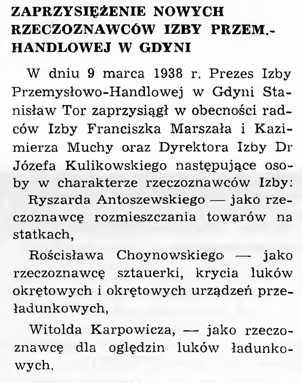 Zaprzysiężenie nowych rzeczoznawców Izby Przemyslowo-Handlowej w Gdyni