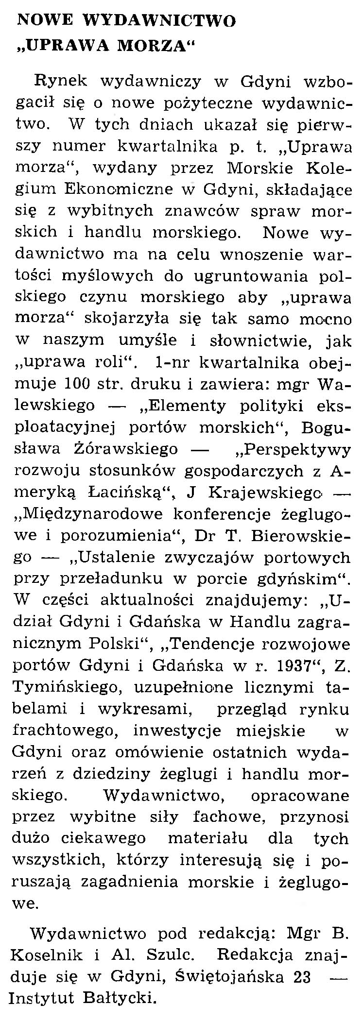 """Nowe wydawnictwo """"Uprawa Morza"""""""