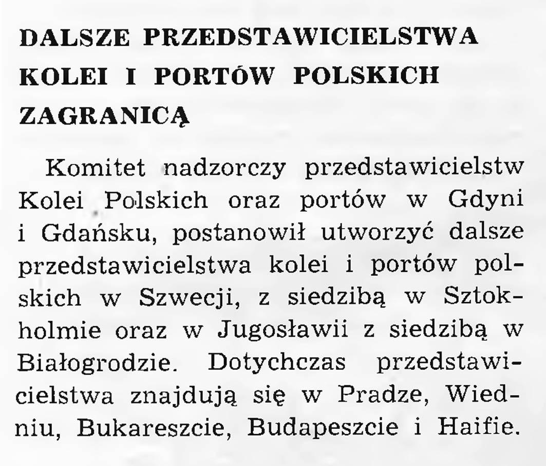 Dalsze przedstawicielstwa kolei i portów polskich zagranicą