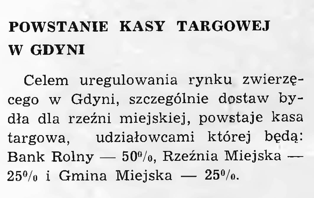Powstanie kasy targowej w Gdyni