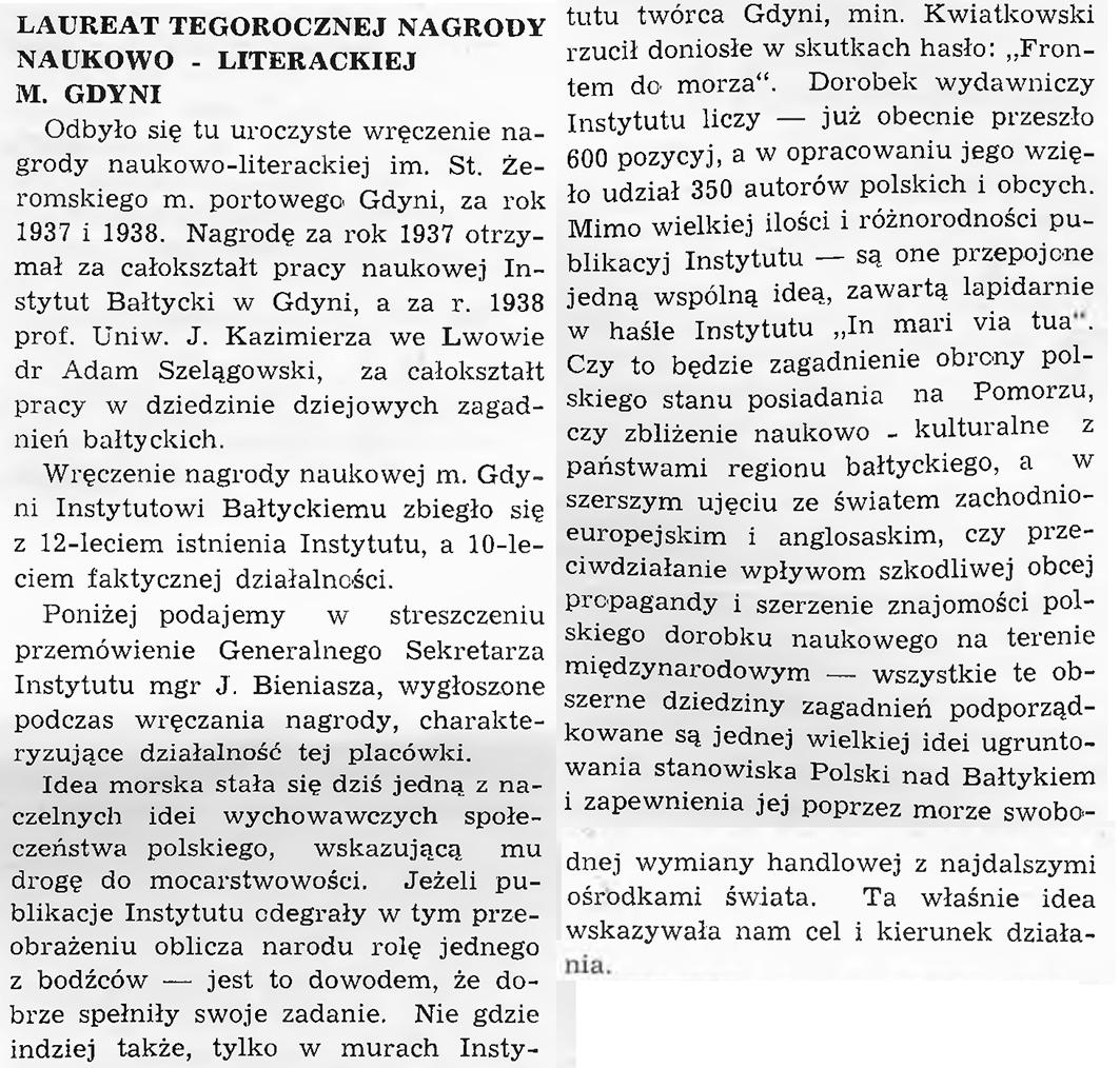 Laureat tegorocznej Nagrody Naukowo - Literackiej m. Gdyni
