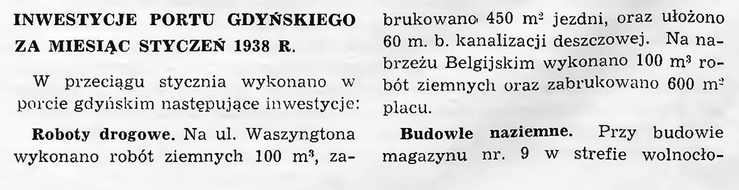Inwestycje portu gdyńskiego za miesiąc styczeń 1938 r.