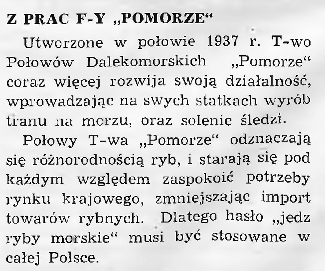"""Z prac f-y """"Pomorze"""""""