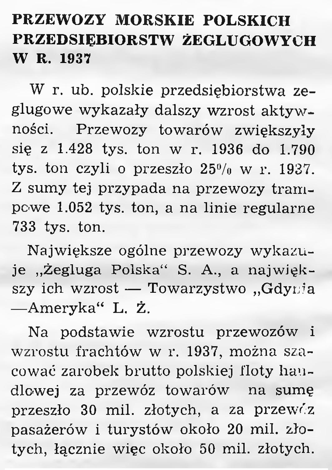 Przewozy morskie polskich przedsiębiorstw żeglugowych