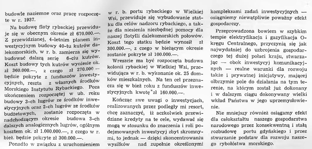 Program inwestycji morskich, portowych i rybackich w r. 1938. Z przemówienia Ministra Przemysłu i Handlu Antoniego Romana na Komisji Budżetowej Sejmu 29. I. 1938 r.