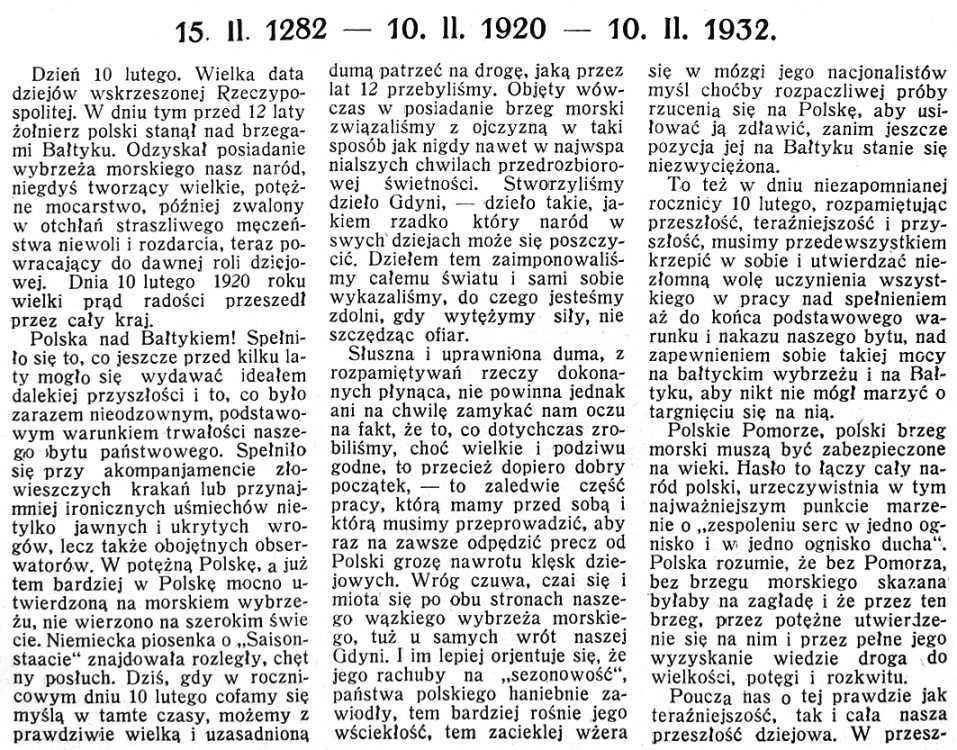 15. II. 1282 - 10. II. 1920 - 19. II. 1932
