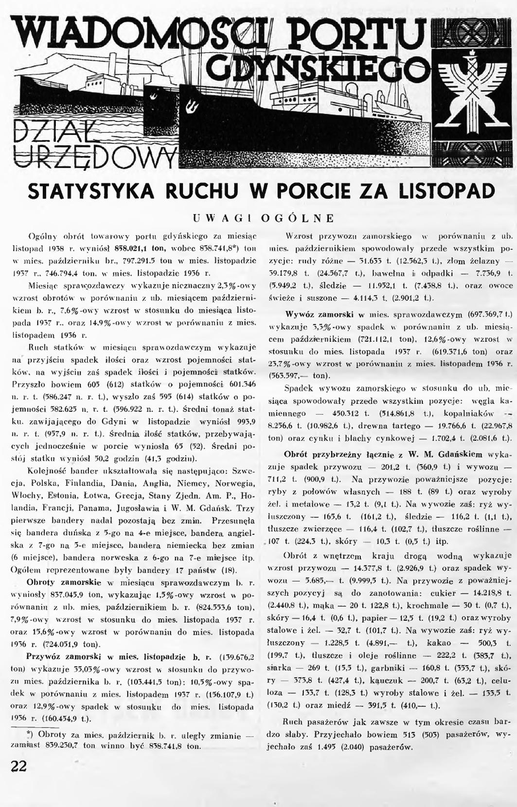 Statystyka ruchu w porcie za listopad [1938 r.]