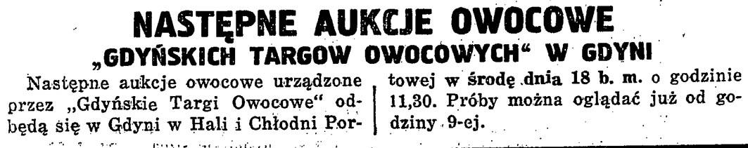 """Następne aukcje owocowe """"Gdyńskich Targów Owocowych"""" w Gdyni"""