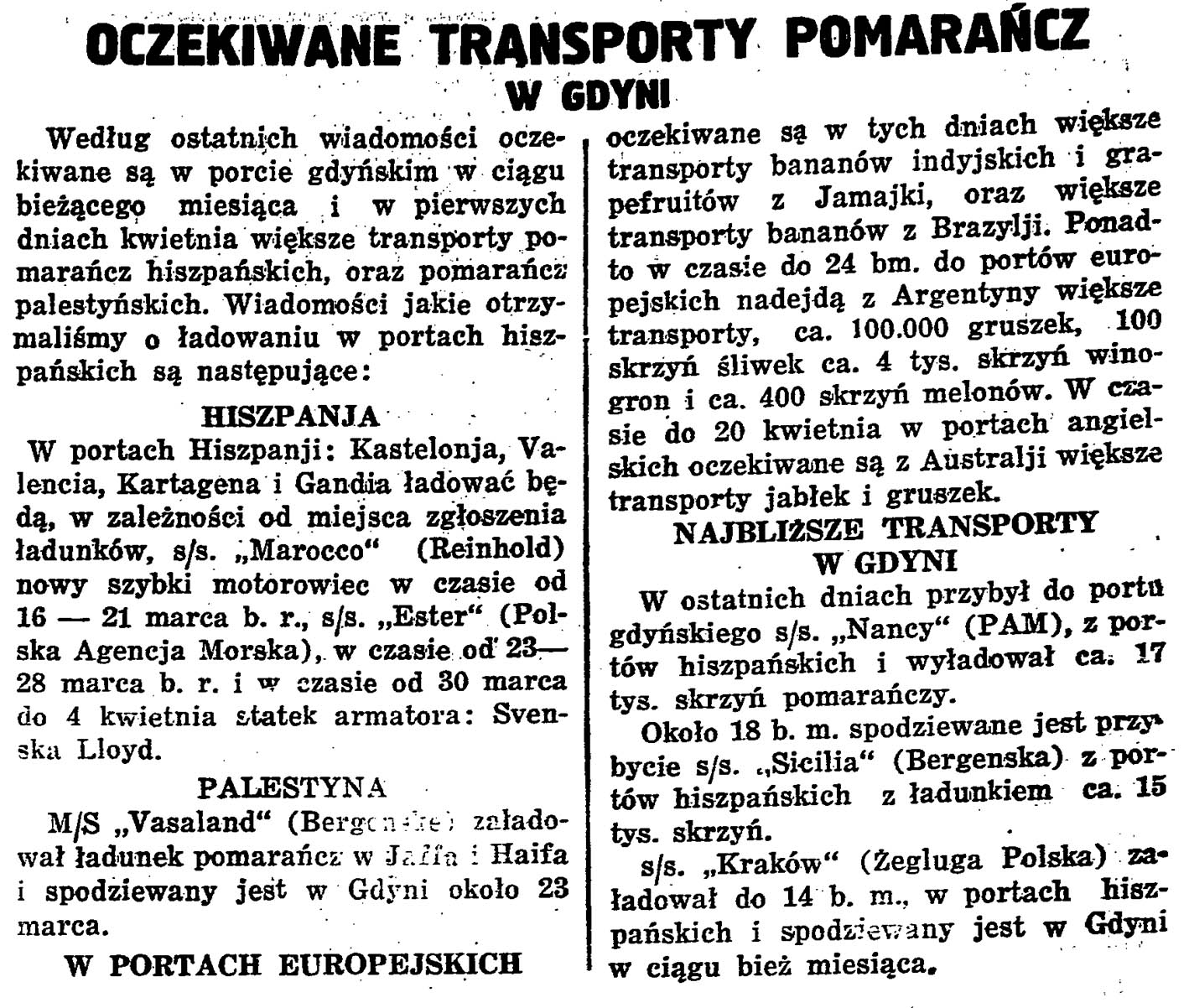 Oczekiwane transporty pomarańcz w Gdyni