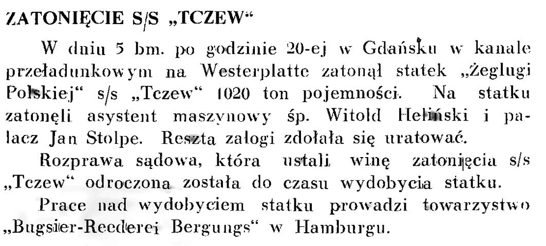 """Zatonięcie s/s """"Tczew"""""""
