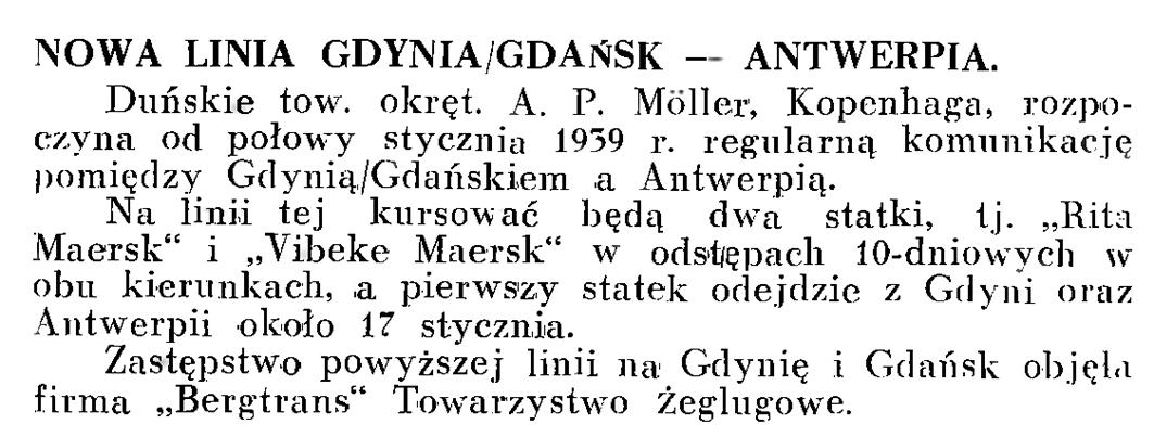 Nowa linia Gdynia/Gdańsk - Antwerpia