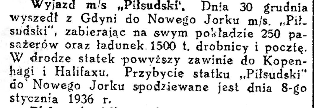 """Wyjazd /m/s """"Piłsudski"""" [z Gdyni]"""