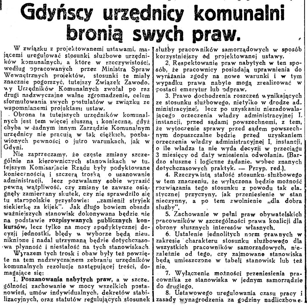 Gdyńscy urzędnicy komunalni bronią swych praw