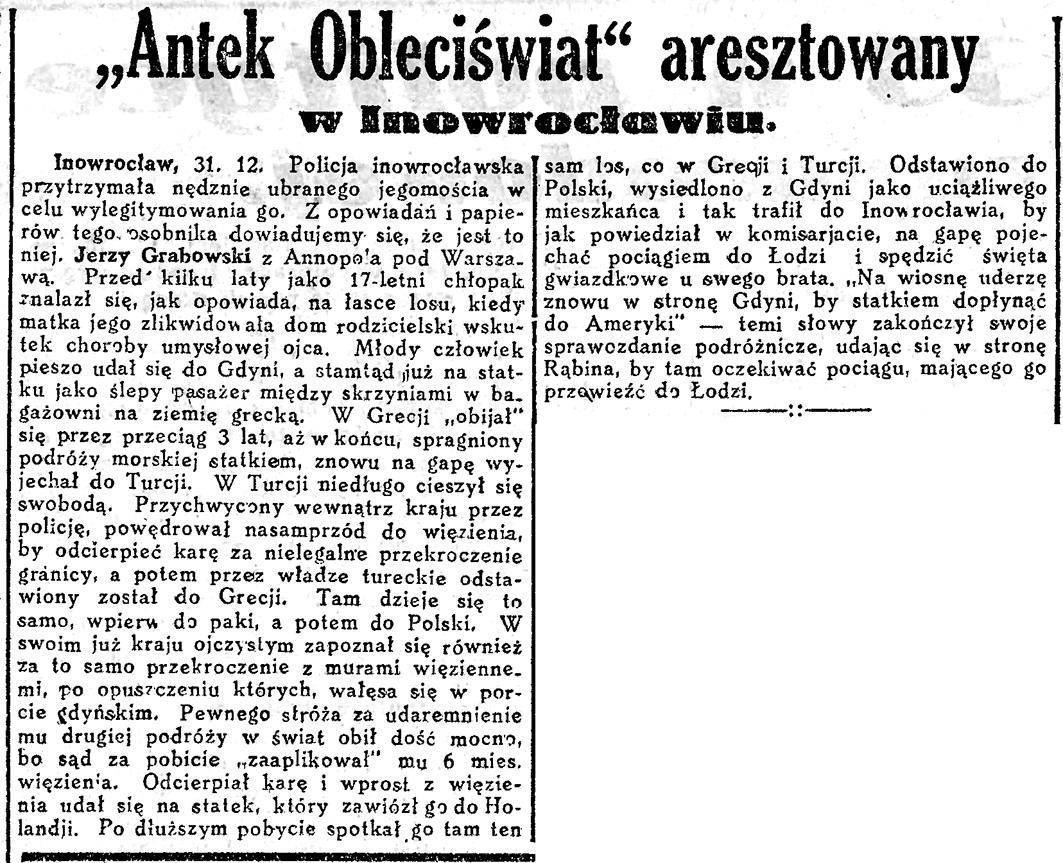 """""""Antek Obleciświat"""" aresztowany w Inowrocławiu"""