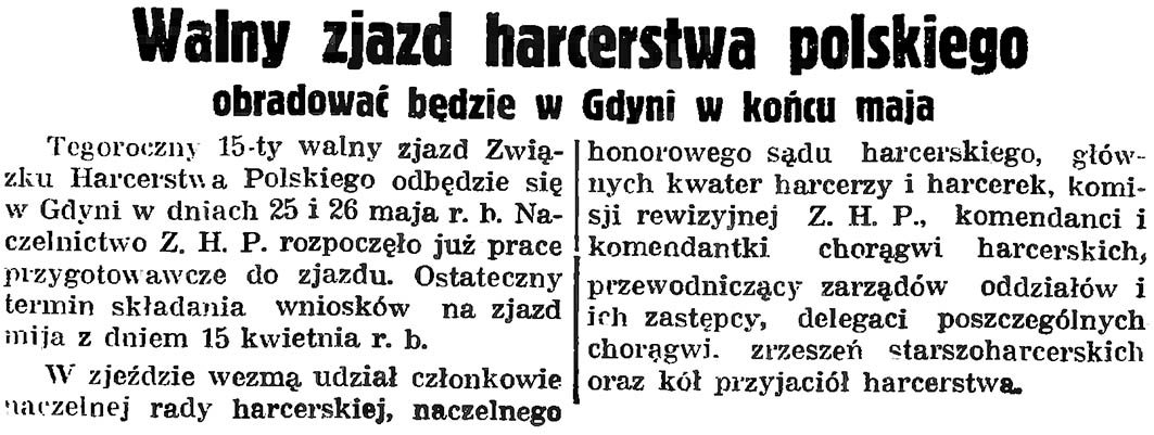 Walny zjazd harcerstwa polskiego obradować będzie w Gdyni w końcu maja