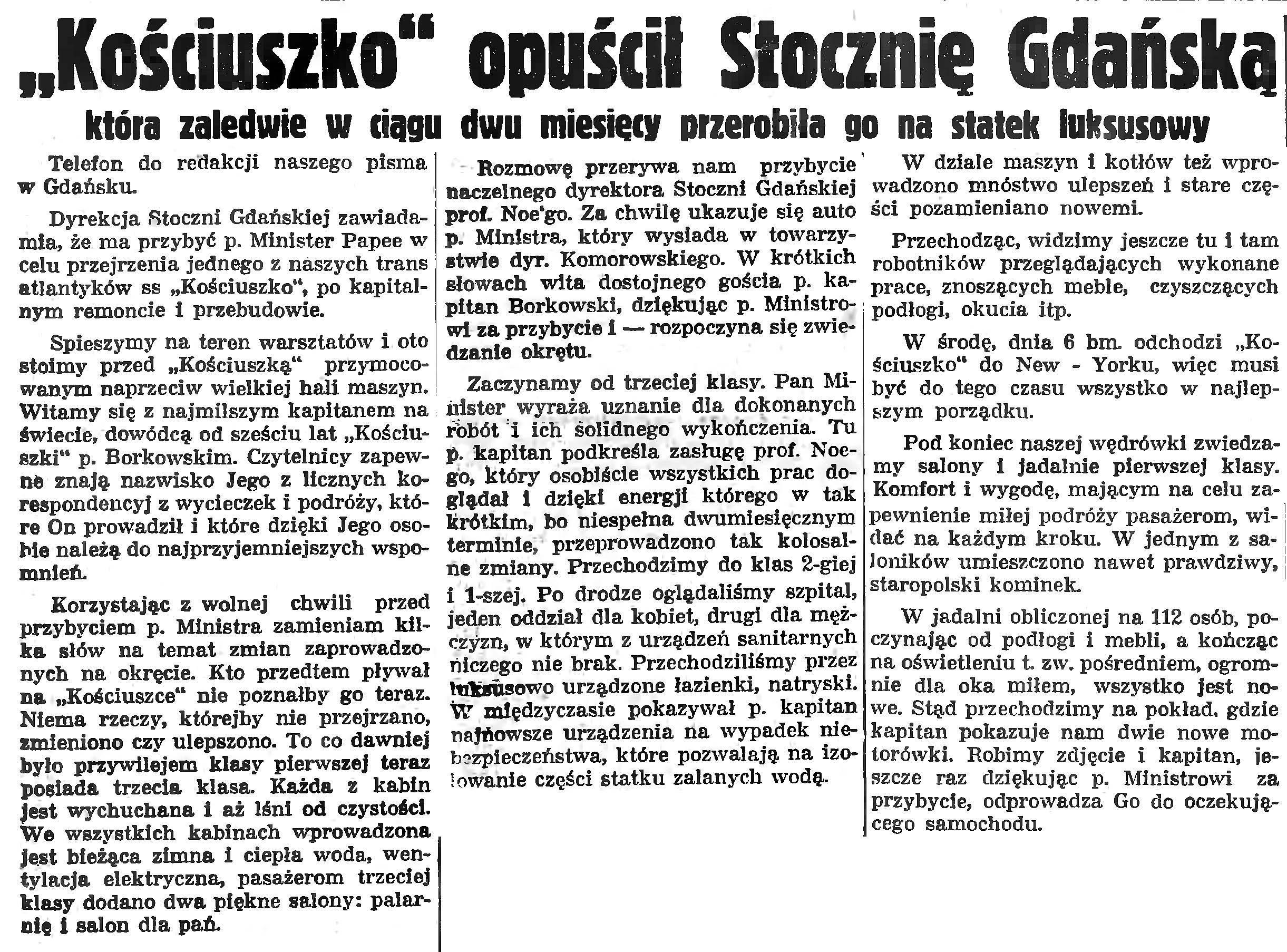 """""""Kościuszko"""" opuścił Stocznię Gdańską"""