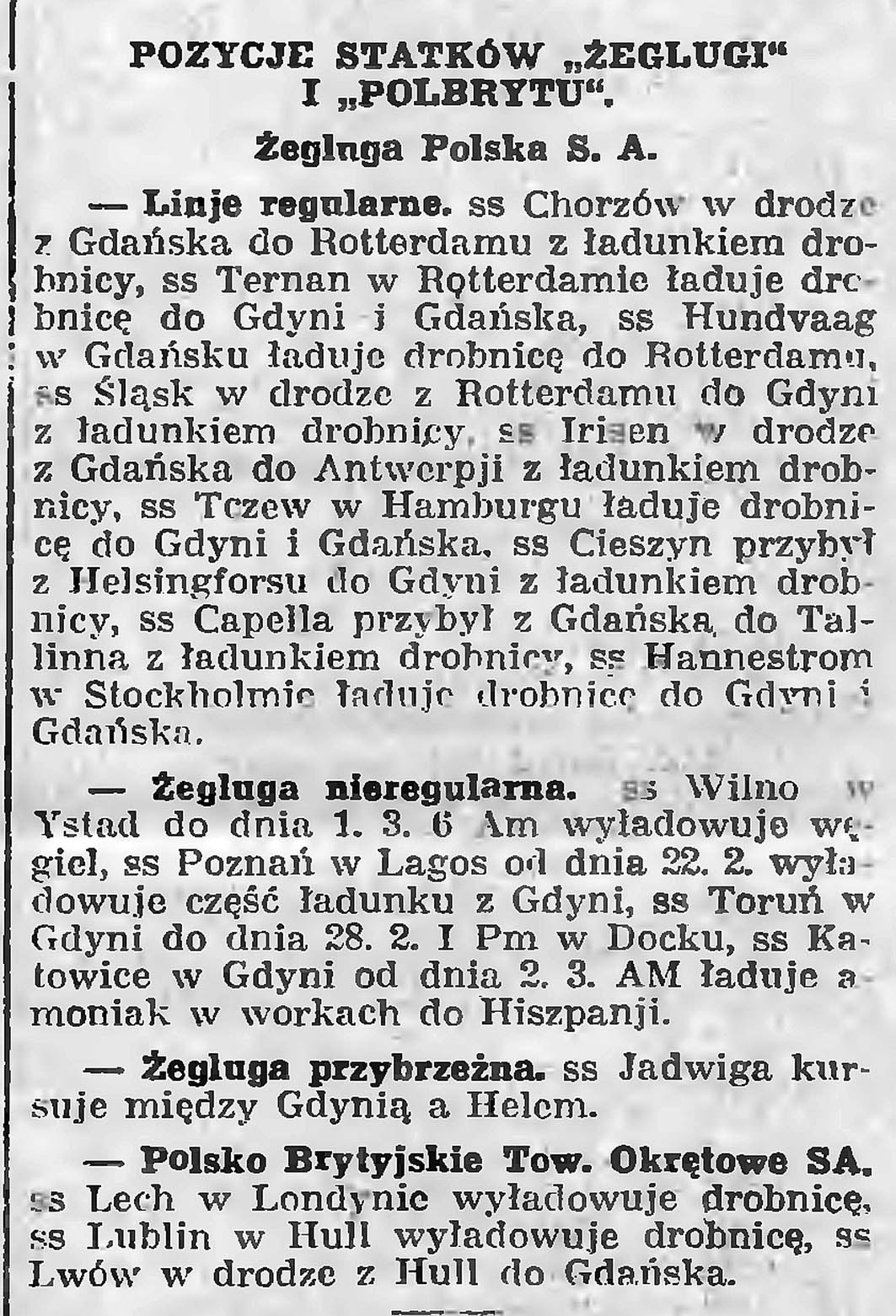 """Pozycje statków """"Żeglugi"""" i """"Polbrytu"""""""