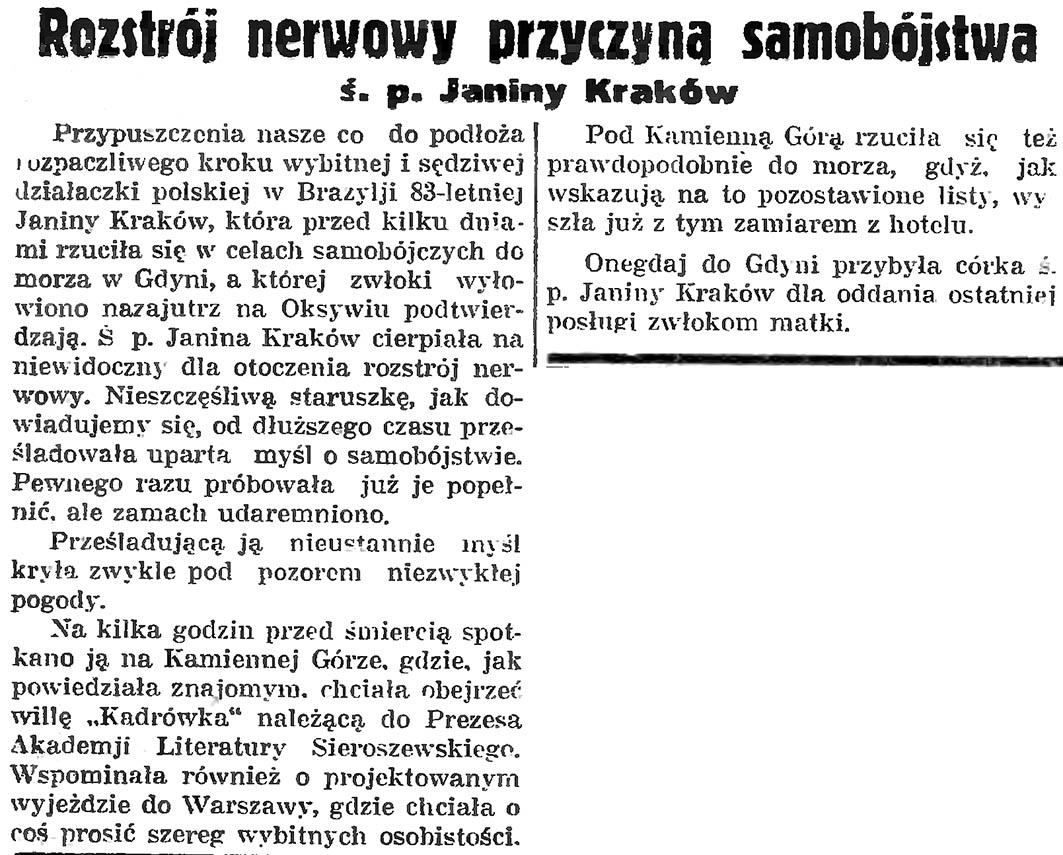 Rozstrój nerwowy przyczyną samobójstwa ś. p. Janiny Kraków