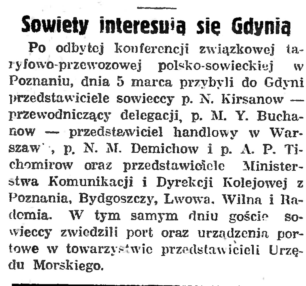 Sowiety interesują się Gdynią