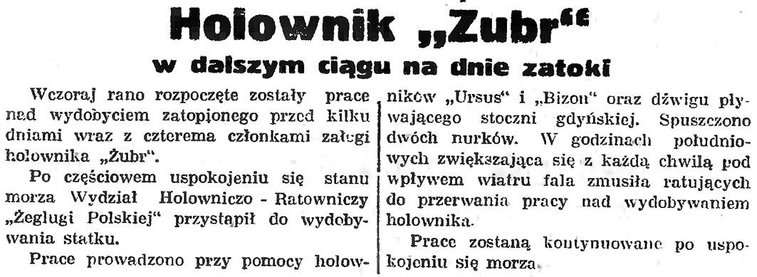 """Holownik """"Żubr"""" w dalszym ciągu na dnie zatoki"""