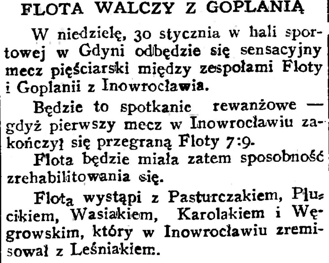 Flota walczy z Goplaną [mecz pięściarski]