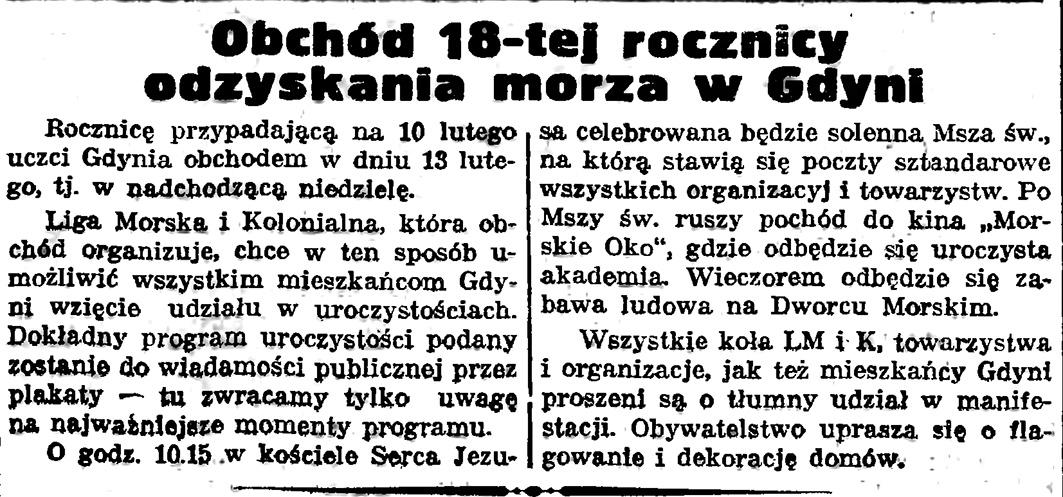 Obchód 18-tej rocznicy odzyskania morza w Gdyni